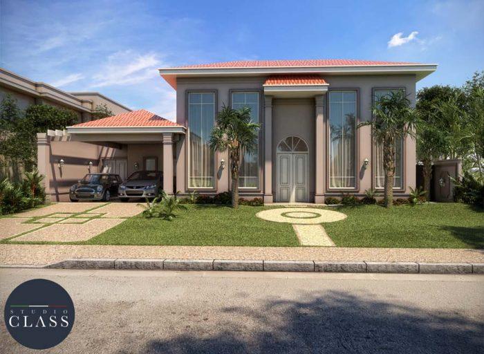 projeto casa terrea estilo neoclassico com telhado aparente condominio ribeirao preto