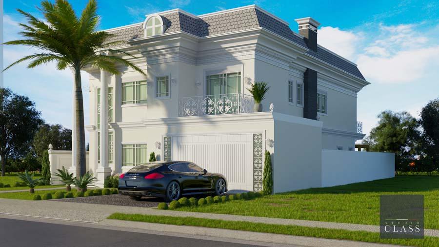 projeto sobrado estilo frances fachada neoclassica telha shingle portico garagem fechada