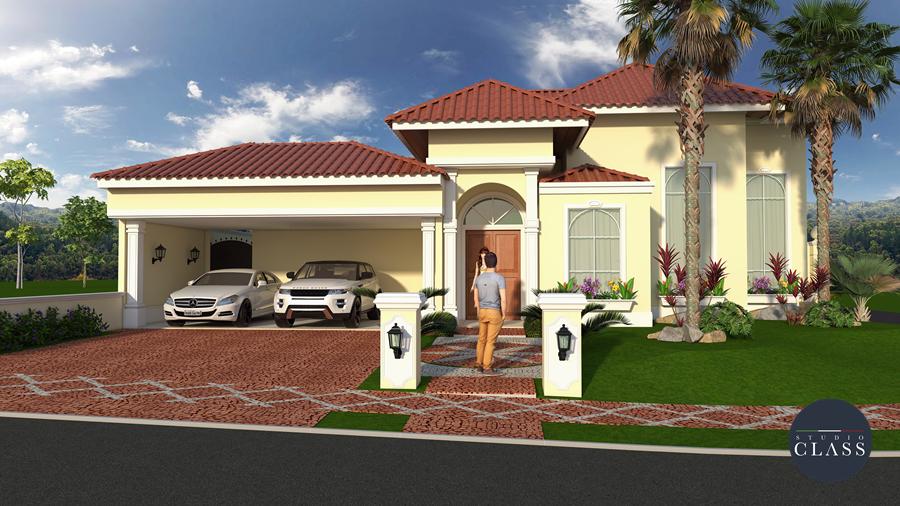 projeto de casa esquina terrea estilo fachada americana 250 metros quadrados