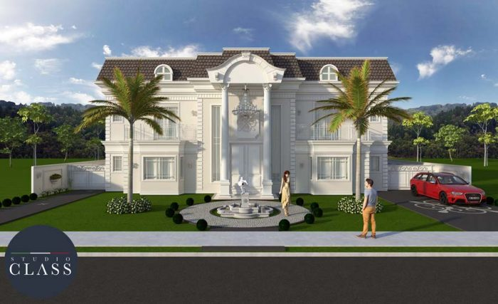 projeto sobrado neoclassico estilo frances alto padrao condominio terras do golfe campo grande ms (1)