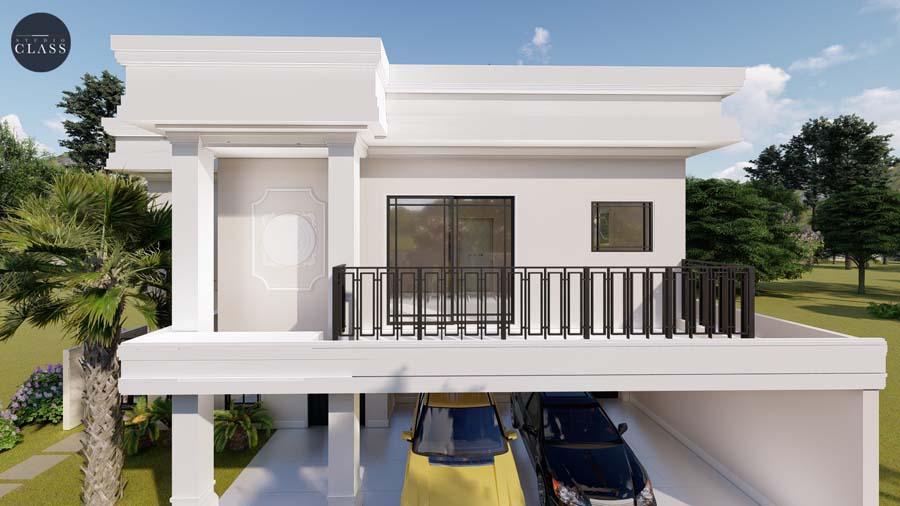 desenho sobrado alto padrao estilo neoclassico condominio reserva vinhedos louveira esquina