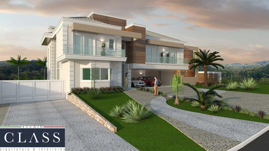 projeto arquitetura casa neoclassica triplex 3 niveis terreno declive mansao alto padrao