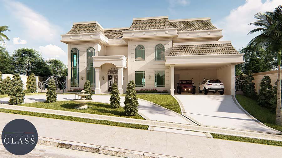 projeto mansão duplex neoclássico estilo francês terreno desnivel lateral
