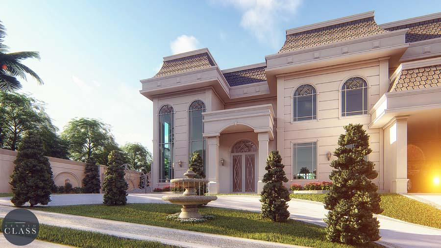 projeto mansao neoclassica estilo frances condominio araras 4 suites terreno desnivel lateral