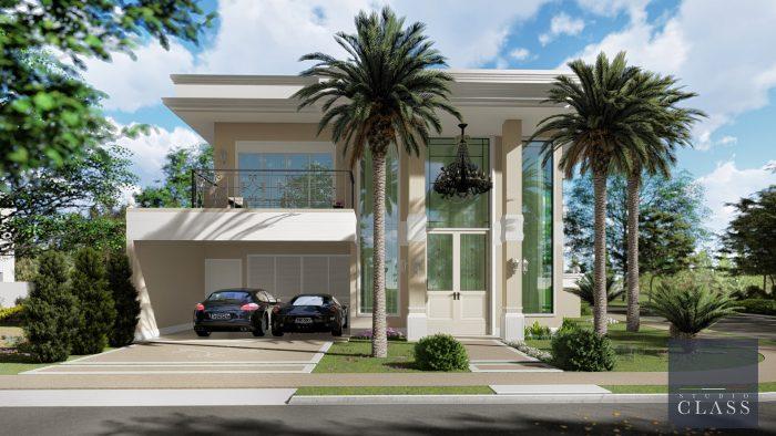 sobrado duplex estilo neoclassico fachada tipo americana alphaville