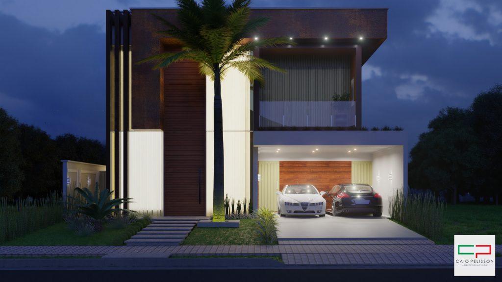 Projeto sobrado duplex moderno Club Portinari em Paulinia