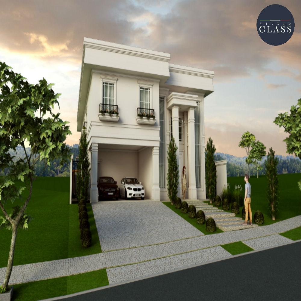 Projeto sobrado duplex com fachada clássica Alphaville Campinas