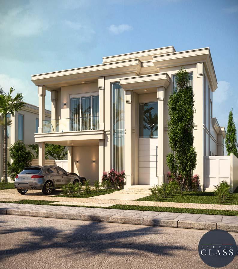 Projeto sobrado duplex neoclássico em Alphaville Campinas fachada neoclássica