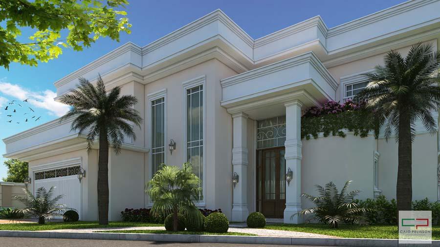 Projeto sobrado duplex neoclássico condomínio Chacara Ondina Sorocaba fachada neoclássica