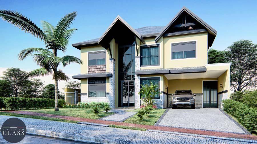 Projeto sobrado duplex estilo rústico Greville Limeira