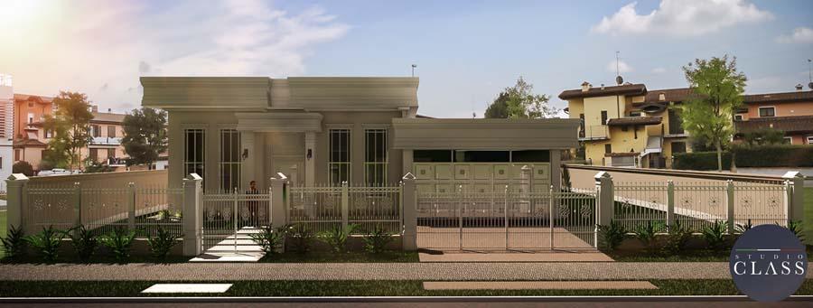 Projeto casa térrea neoclássica condomínio Paraíso das Flores em Curitiba fachada neoclássica