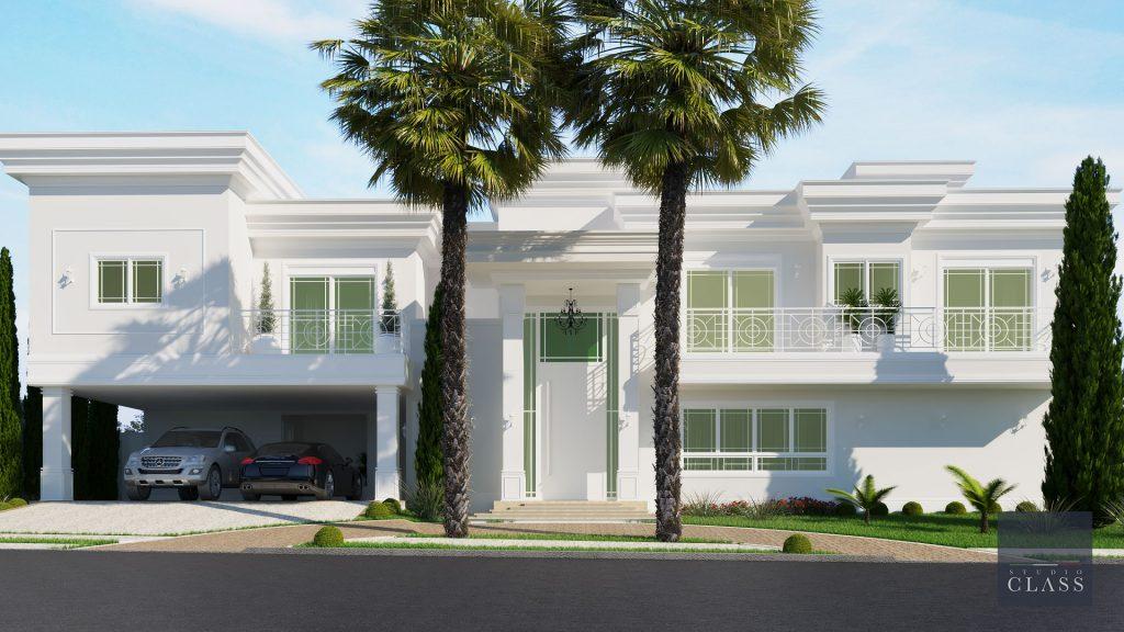 Projeto sobrado duplex neoclássico condomínio Portal Colina em Americana fachada neoclássica