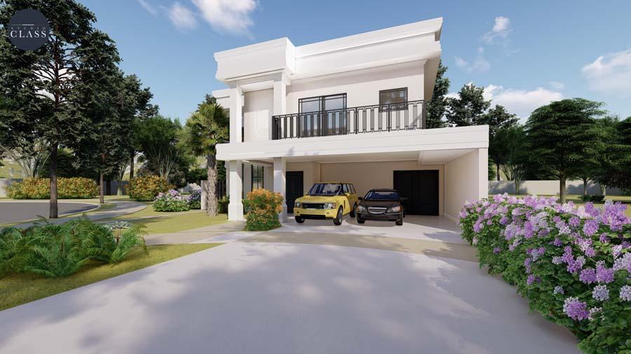 Projeto sobrado duplex neoclássico condomínio Reserva de Vinhedos Louveira fachada neoclássica