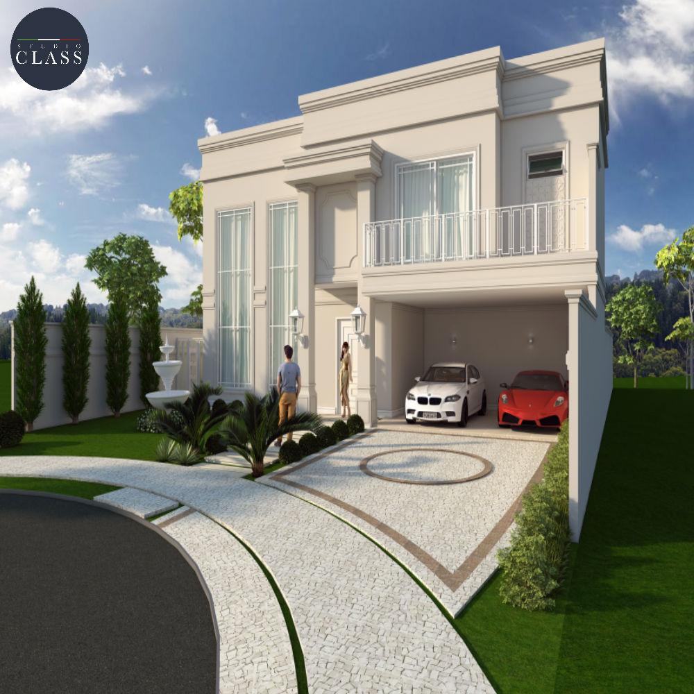 Projeto sobrado duplex fachada clássica condomínio Swiss Park em Campinas