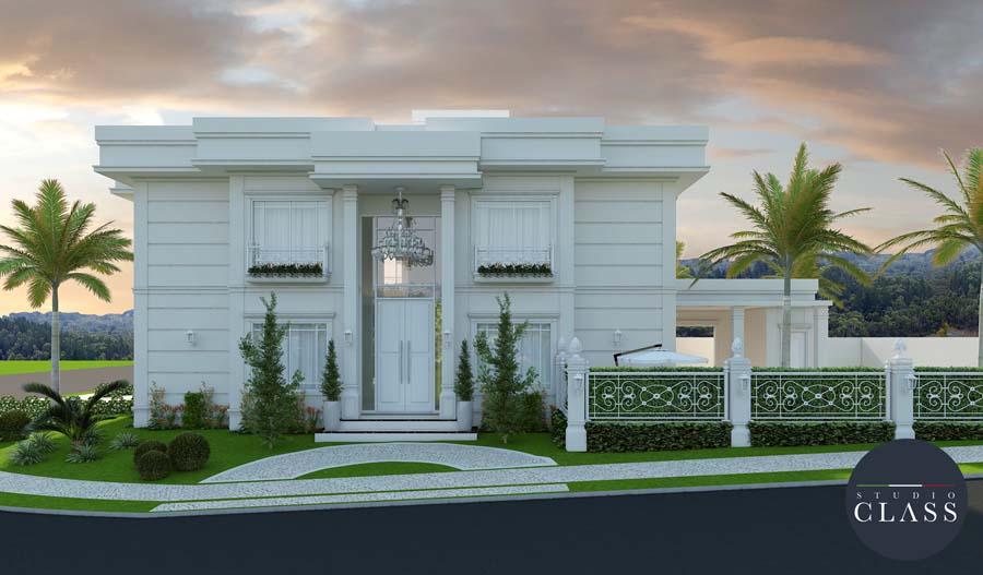 Projeto sobrado duplex neoclássico condomínio Swiss Park Campinas fachada neoclássica