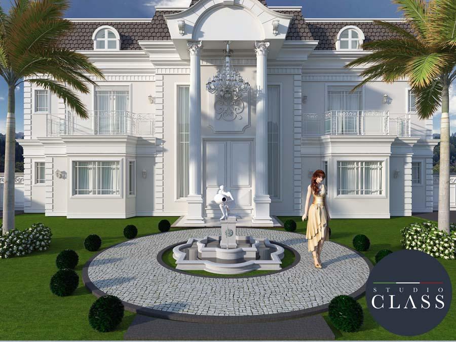Projeto sobrado duplex neoclássico estilo francês Campo grande MS fachada neoclássica