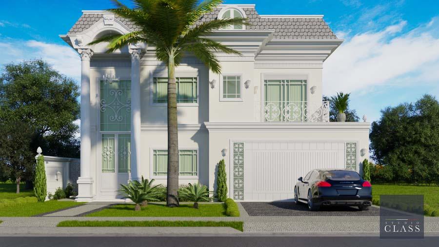 Projeto sobrado duplex neoclássico condomínio Tamboré Bauru fachada neoclássica