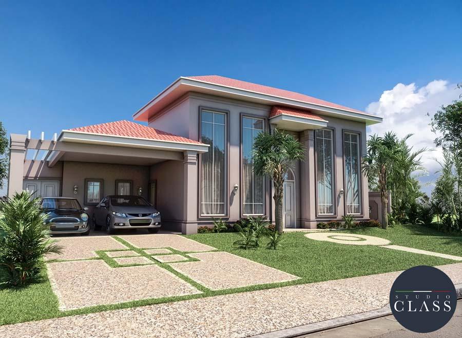 Planta de casa térrea neoclássica com telhado aparente avermelhado