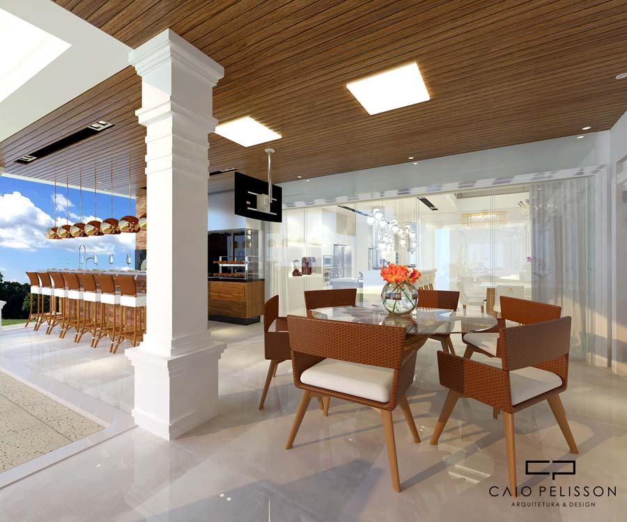 Design de interiores em ambientes integrados no condomínio Ilha de Balli em Limeira
