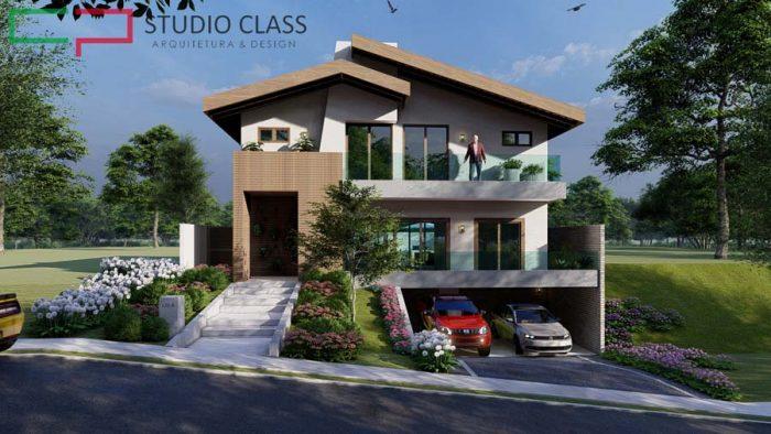 desenho casa desnivel lateral garagem subsolo condominio alphaville campinas