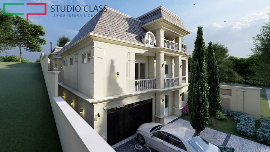 fachada neoclassica triplex terreno aclive