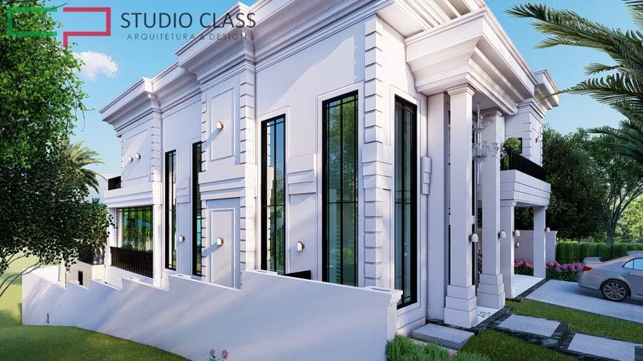 projeto sobrado condominio alphaville dpedro campinas terreno desnivel estilo neoclassico